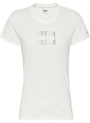 Tommy Hilfiger Kadın Tjw Outline Flag Tee Tişört DW0DW08936 Beyaz